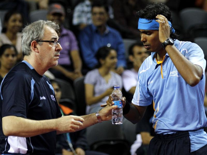Massimo Costantini with Sharath Kamal at the 2010 Commonwealth Games. Photo Courtesy: Sportstarlive.com