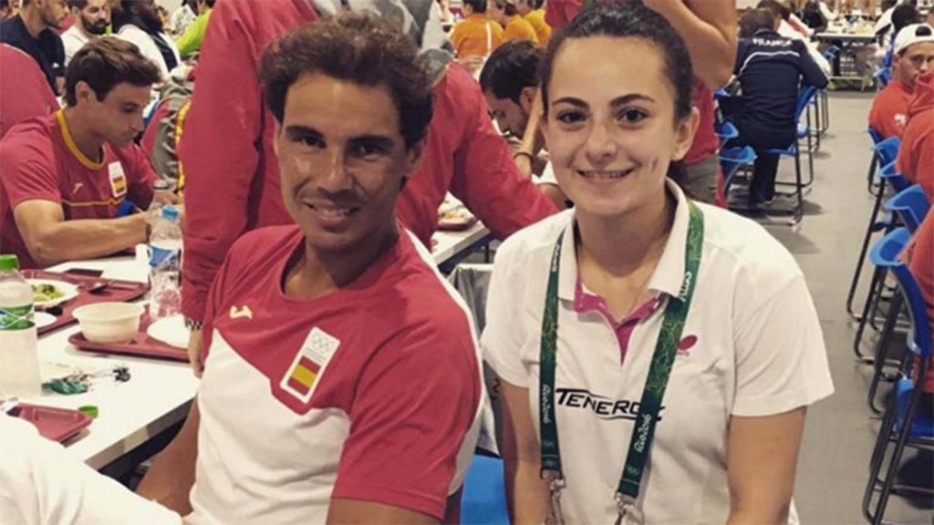 Rafael Nadal (left) spoke to (right) Dina Meshref in the Olympic Games village